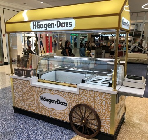 Ice Cream Scooping Cart Mall Kiosk